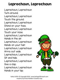 Patrick's Day Movement Poem The Effective Pictures We Offer You About patricks day background A quality picture can tell you many things. St Patricks Day Songs, St Patricks Day Crafts For Kids, St Patrick's Day Crafts, Preschool Music, Preschool Lessons, Sant Patrick, March Themes, St Patrick Day Activities, Kids Songs