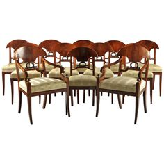 Set of 12 Empire Mahogany Dining Chairs