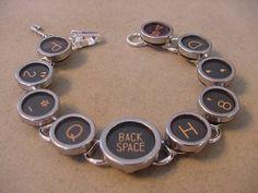 TYPEWRITER KEY BRACELET BLACK RANDOM MIX Glass Typewriter key Jewelry | magic_closet - Jewelry on ArtFire