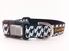 """ELVIS: Dog Collar with Houndstooth Pattern - 1 inch width - """"Bear"""""""