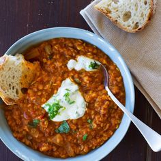 Butternut and Red Lentil Soup with Mint Yoghurt