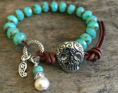 "Sugar Skull Knotted Bracelet, Silver Turquoise Leather Wrap ""Boho Chic"" Beaded by Two Silver Sisters twosilversisters"