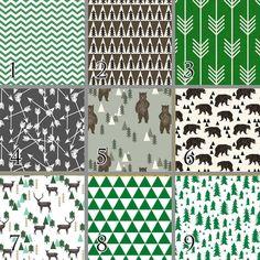 Camp Bear (Baby Bedding) Emerald Green Brown Black Gray Premium Crib Bedding…