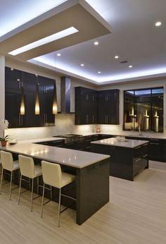 stunning modern dream kitchen design ideas and decor 1 < Home Design Ideas Kitchen Ceiling Design, Pop Ceiling Design, Luxury Kitchen Design, Kitchen Room Design, Contemporary Kitchen Design, Home Decor Kitchen, Interior Design Kitchen, Zen Kitchen, Kitchen Ideas