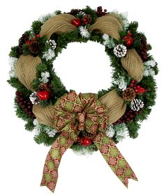 Evergreen Deco Mesh Wreath designed by Karen B., A.C. Moore Erie, PA #christmas #wreath #decomesh