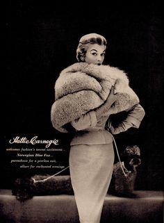 HATTIE CARNEGIE ad from vintage Harper's Bazaar October 1953. (minkshmink)