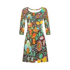 Red Yellow Aqua Vintage Floral Pattern 3/4 Sleeve Sundress (D23)