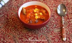 Shorba Libiya is an amazingly good nationally famous Libyan soup recipe featuring lamb, mint, chickpeas, and lots of spicy pepper, cinnamon, and turmeric.
