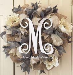 Custom Monogram Burlap and Magnolia Deco Mesh by MemphisMomWreaths