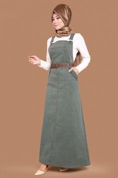 G.M.Z. Tesettür - Bahçıvan Kot Jile MSW8559 Haki Abaya Fashion, Denim Fashion, Modest Fashion, Fashion Dresses, Muslim Women Fashion, Islamic Fashion, Muslim Dress, Hijab Dress, Indian Designer Outfits
