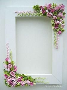 fimo - SK: What a cute idea to enhance SBs. Or redo thrift store frames. Just thought about doing a Carousel animal SB…Floral frame ~ lots of work, but simply gorgeous!Blumen Polymer Clay I love the spirals!Beautiful pink and green floral photo or Polymer Clay Flowers, Fimo Clay, Polymer Clay Projects, Polymer Clay Art, Polymer Clay Jewelry, Quilled Creations, Polymer Clay Creations, Clay Tutorials, Clay Charms