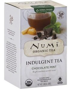 Numi Organic Tea Indulgent Chocolate Mint Tea's blend of Numi's Moroccan mint, cacao and orange peel has a sweet balance. The spearminty flavor adds a bit of spice while orange peel adds a hint of citrus. Numi Organic Tea presents Indulgent tea-a collection of chocolate teas that celebrate the blending of two of humanity's most revered traditions-tea and cacao. Indulgent tea is the perfect harmony for tea and chocolate lovers looking for a guilt-free treat. Enjoy these exquisite ...