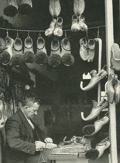 Ioanninan shoemaker making slippers in Athens, Greece    National Geographic | March 1940
