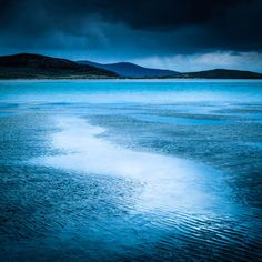 Moody Blue Beach Print  Oversized Print  by CrionnaPhotography