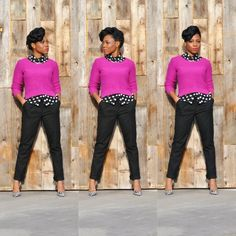Polka dot button up shirt – DTLA Boutique  Fuschia Crew Neck Sweater- Forever 21  Black Chino Crop Pants – H  Black & White Houndstooth Heels- Anne Klein