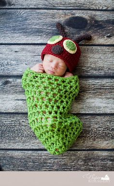 The Very Hungry Caterpillar Cocoon and Hat Newborn Photo Prop Costume via Etsy