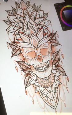 Mandala Tattoo Mann, Mandala Tattoo Design, Skull Tattoo Design, Henna Tattoo Designs, Mehndi Designs, Tattoo Ideas, Leg Tattoos, Body Art Tattoos, Sleeve Tattoos