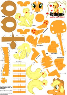 Applejack 2 Papercraft Pattern by Rettro on DeviantArt Origami Paper Art, 3d Paper Crafts, Paper Toys, Diy And Crafts, Crafts For Kids, Little Pony Birthday Party, My Little Pony Party, My Little Pony Craft, My Little Pony Applejack