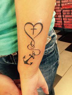Faith, Hope, Love! #faith #tattoo #faithtattoo #christian #anchor #anchortattoo #hopetattoo #blacktattoo #tattoos #wristtattoo