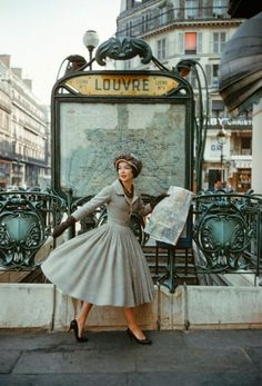Shaw took this series in Paris to bring the sense of the city back to America. (Palais de Glace dress, Spring-Summer 1957 haute-couture collection.) vintage everyday: A Rare Look Into The World of Christian Dior from 1950s