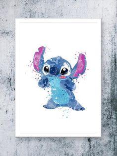 Stitch Lilo & Stitch disney  watercolor Art Print instant