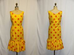 Large Vintage Dress 1960 Sleeveless Yellow.  I had a dark blue with white polka dots on it.  I loved it!