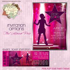 Rock Star Party Invitation /  DIY Printable Party Invitation / Rock Star Pop Star Event Ticket / Thank You Card / VIP Pass Lanyard Insert