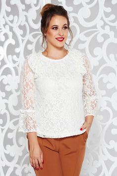 StarShinerS white elegant flared women`s blouse from laced fabric with inside lining with ruffled sleeves October 19, Product Label, Lace Sleeves, White Women, Lace Fabric, Vibrant, Elegant, Blouse, Collection