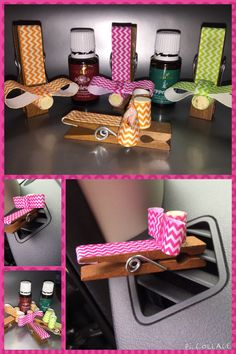 Easy Do it yourself cute Essential oil car diffusers :) glue some cute ribbon and a cork to a clothes pin, put a couple drops of oil on the cork and clip it to your car vent, Voila! Happy day!