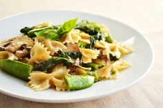 spring pasta with snap peas and spinach