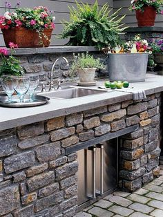 Our Vintage Home Love: Spring/Summer Porch Ideas grey & white patio / outdoor space Outdoor kitchen Outdoor Kitchen Sink, Outdoor Sinks, Outdoor Kitchen Countertops, Outdoor Kitchen Design, Outdoor Rooms, Outdoor Gardens, Outdoor Living, Outdoor Decor, Outdoor Kitchens