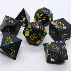 Poppies White Floral Dice bag for Dungeons and Dragons Player Druid Yellow Dungeon Master