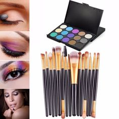 Susenstone®15 pcs/Sets Eye Shadow Foundation Eyebrow Lip Brush (15 Colors Palette) -- More info could be found at the image url.