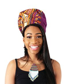 "Nefertiti Crown: Purple TraditionalFeel like a queen in this traditional Nefertiti Crown. This distinct crown has the same silhouette as the one worn by the famous Egyptian Nefertiti. It has a traditional, multicolored African design that really stands out. The inside of the crown has an elastic band that can fit up to a 24"" head.#africa #african #nefertiti #afrocentric #africanhat #crown #hats #style #fashion #africanstyle #africanfashion"