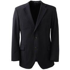 Lands' End Men's Big Dress Code Washable Wool Blend Suit Coat ($175) ❤ liked on Polyvore featuring men's fashion, men's clothing, black, mens apparel, mens clothing and lands end mens clothing