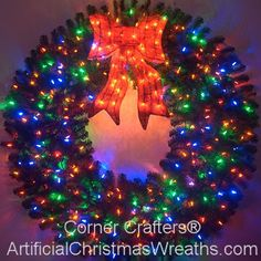 5 Foot Color Changing L.E.D. Prelit Christmas Wreath #ArtificialChristmasWreaths #ChristmasWreaths #Wreaths #PrelitWreaths #LargeWreaths #colorchangingwreaths