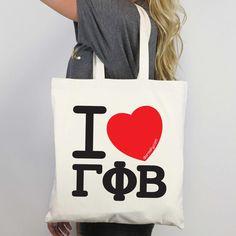 I Heart Gamma Phi Beta Tote - buy in bulk for bid day! http://www.dormify.com/greek/gamma-phi-beta/i-heart-gamma-phi-beta-tote