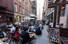 Stone Street is the oldest paved street in NYC. It's also basically one giant open-air food court in the spring and summer, when restaurants on the street start offering al fresco dining.
