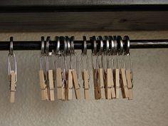 Clip up organization storage. Uses MINI clothespins!