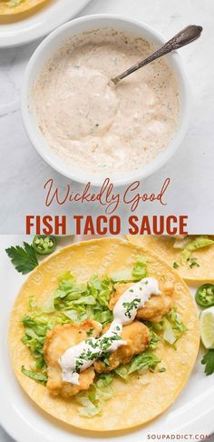 Wickedly good fish taco sauce - the best fish taco sauce for your tacos! - Wickedly good fish taco sauce – the best fish taco sauce for your tacos! Wonderfully spiced, and - Fish Dishes, Seafood Dishes, Seafood Recipes, Mexican Food Recipes, Cooking Recipes, Healthy Recipes, Healthy Soup, Fish Taco Recipes, Cooking Gadgets