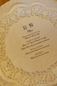 Doily wedding menu  by Varese Wedding