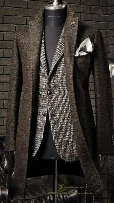 Men's Suit with overcoat. Wool-Texture