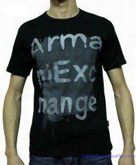 T-shirt Manches Courtes Armani Exchange Homme Moins Cher Coton Noir