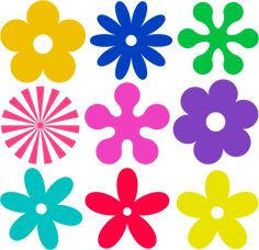 Discover thousands of images about File:Retro-flower-ornaments. Flower Svg, Flower Clipart, Flower Template, Hippie Flowers, Retro Flowers, Colorful Flowers, Flower Ornaments, Ornaments Design, Felt Flowers