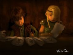 Hiccup and Astrid working on invitations for the Snoggletog festival.