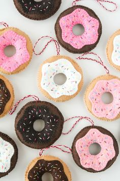 The Baker Upstairs: Hand-Sewn Donut Ornaments Sewn Christmas Ornaments, Stick Christmas Tree, Felt Christmas Decorations, Felt Ornaments, Christmas Diy, Xmas, Childrens Christmas, Glitter Ornaments, Christmas Sewing