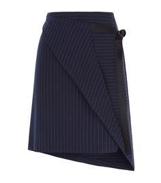 DKNY Pinstripe Asymmetric Wrap Skirt Navy | Harrods