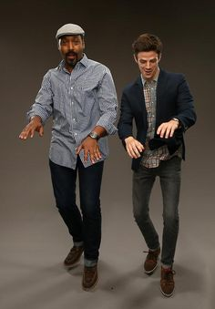 'The Flash' actors Jesse L. Martin (L) and Grant Gustin pose for a portrait…