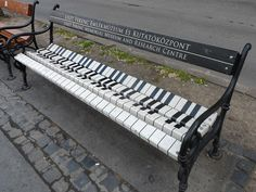 Piano bench promoting the Ferenc Liszt Museum on the Avenue Andrassy, Budapest, Hungary. Music Furniture, Urban Furniture, Street Furniture, Garden Furniture, Unusual Furniture, Cool Furniture, Furniture Outlet, Discount Furniture, Music Wall Decor