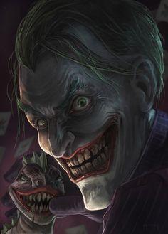The Joker is Batman's greatest foe. The Joker is a psychopath killer who murders anyone, men, women, and children he has no feelings! Joker Comic, Joker Pics, Joker Art, Comic Art, Joker Images, Comic Books, Black Batman, Batman Vs, Black Joker